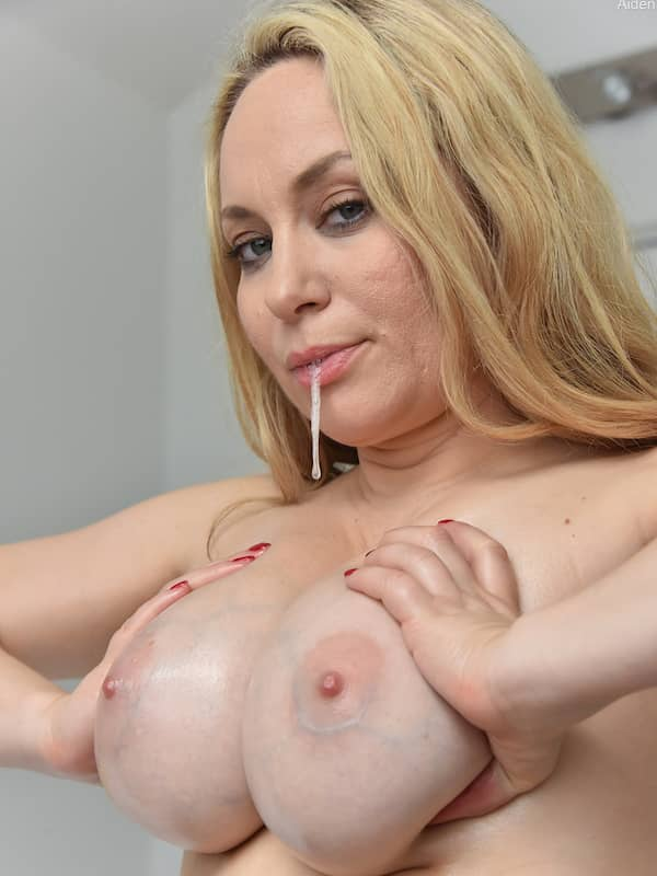 milf aiden spits on her big tits